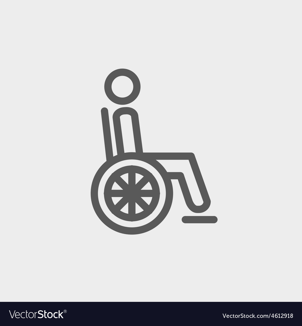 Disabled person thin line icon vector   Price: 1 Credit (USD $1)