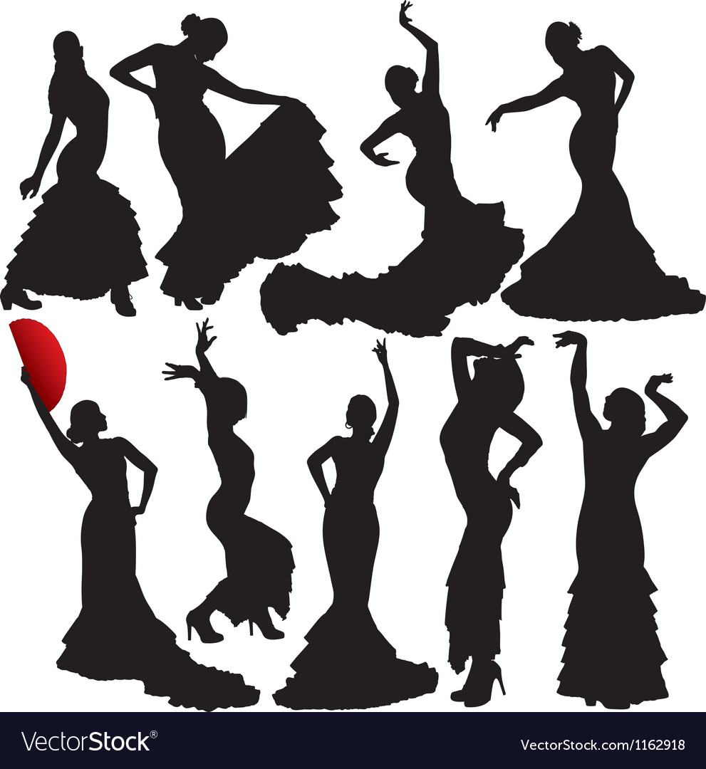 Flamenco woman dancer silhouettes vector