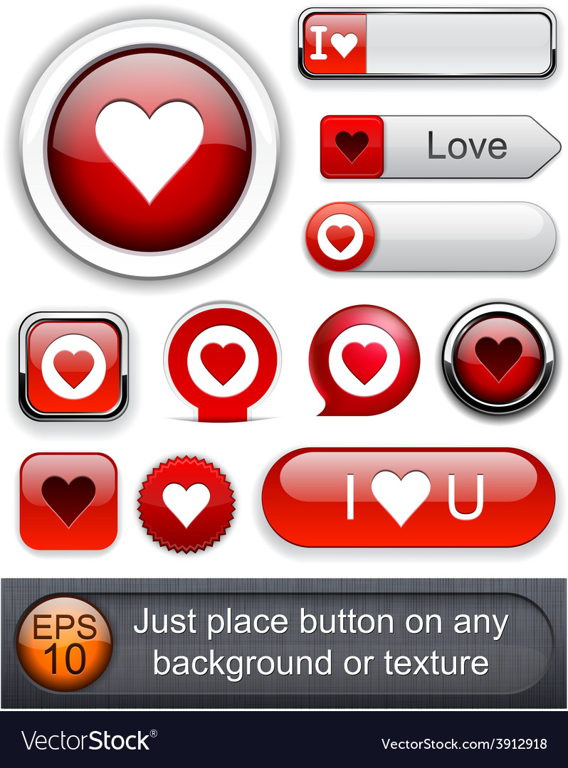 Love high-detailed modern buttons vector | Price: 1 Credit (USD $1)