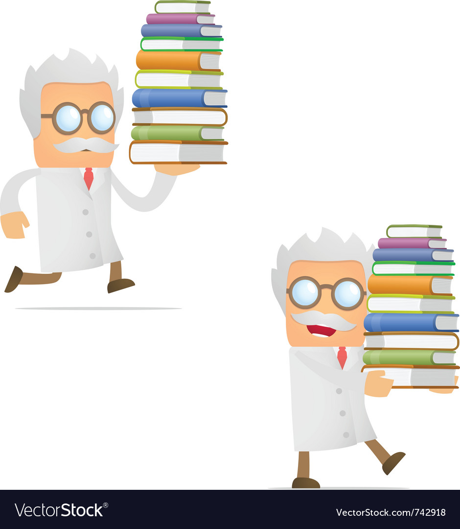 Scientist with books vector | Price: 1 Credit (USD $1)