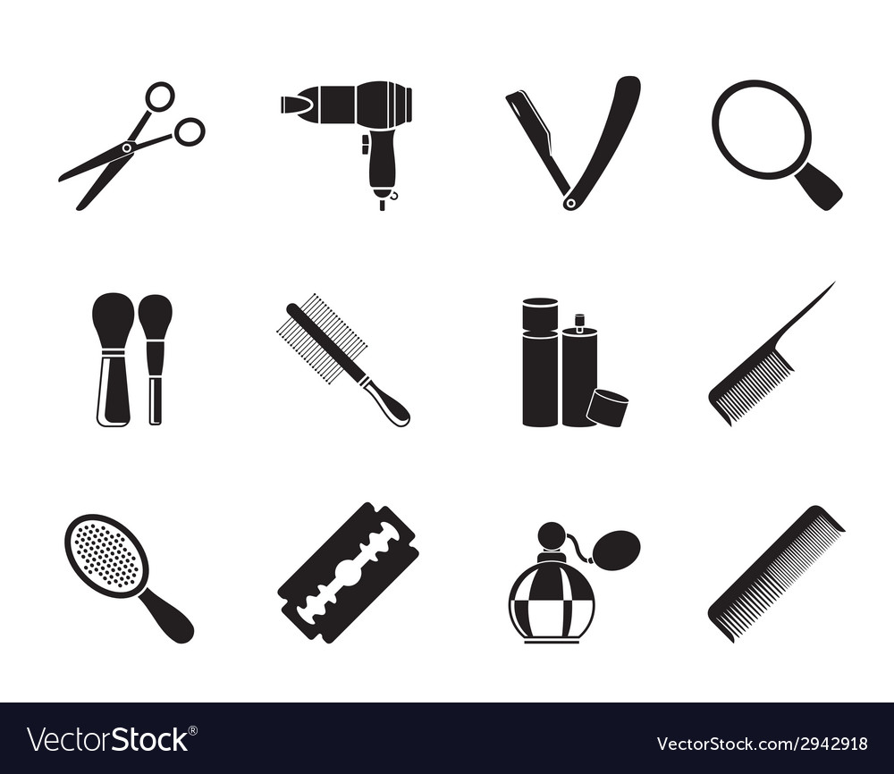 Silhouette make up and hairdressing icons vector | Price: 1 Credit (USD $1)