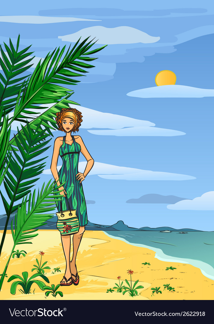 Woman on the beach vector | Price: 1 Credit (USD $1)