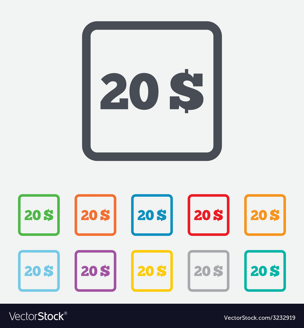 20 dollars sign icon usd currency symbol vector | Price: 1 Credit (USD $1)