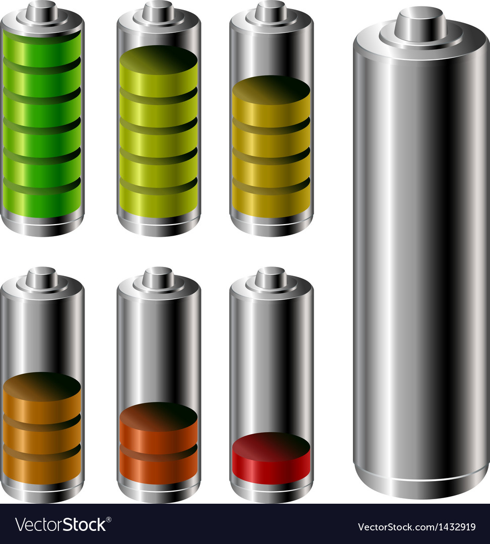 Battery charge level set vector | Price: 3 Credit (USD $3)
