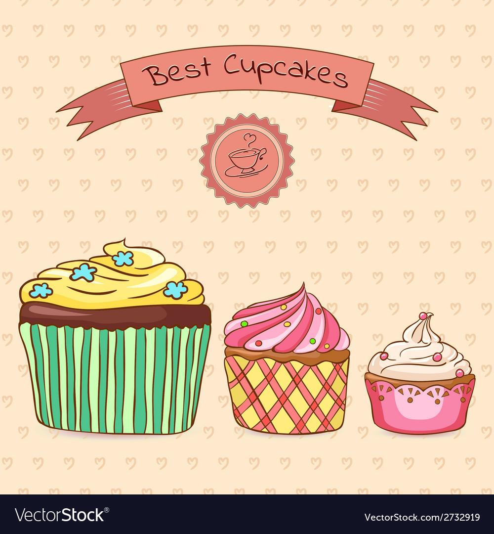 Beautiful card best cupcakes vector   Price: 1 Credit (USD $1)