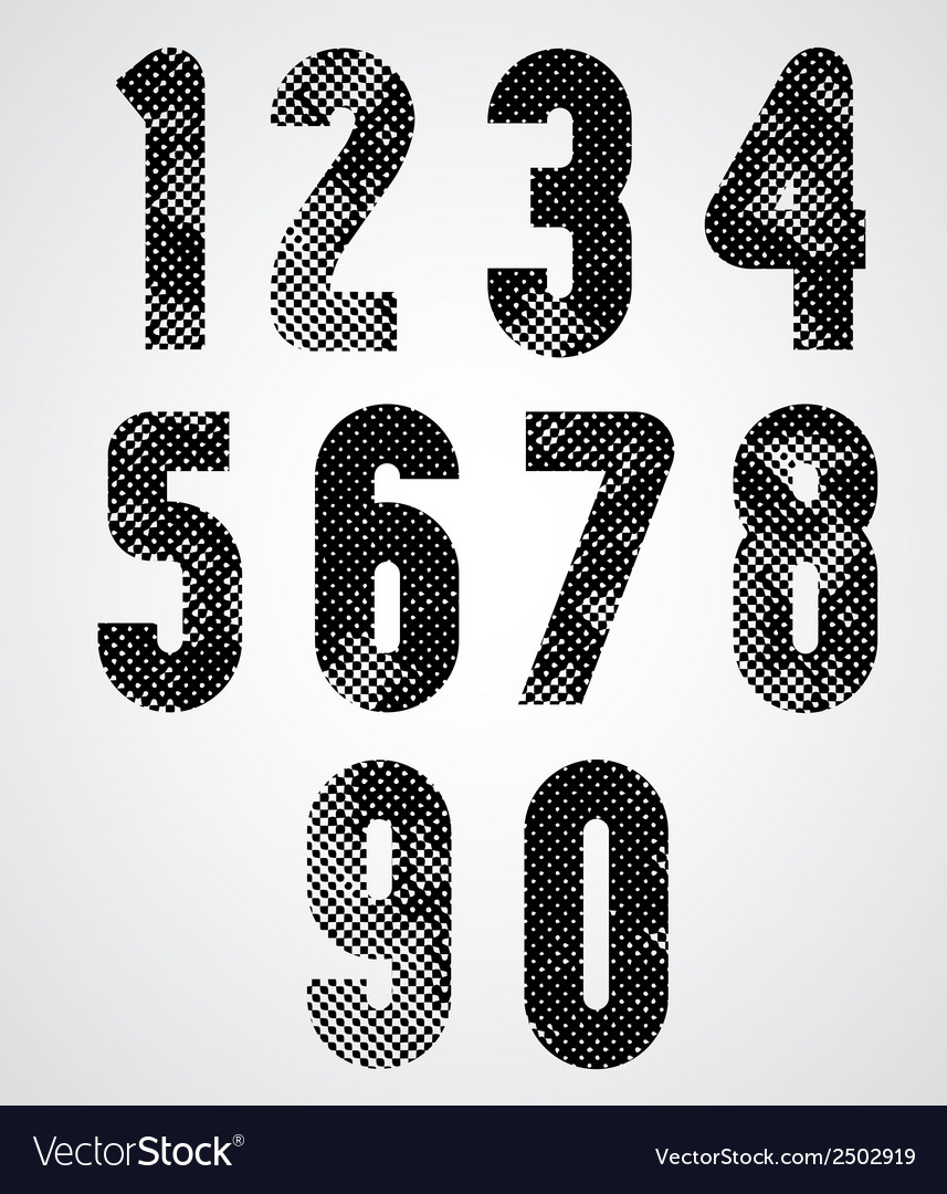 Black and white dotty graphic decorative numbers vector | Price: 1 Credit (USD $1)