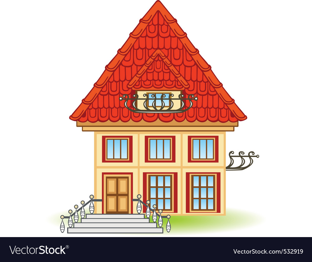 Cartoon house with balcony vector | Price: 1 Credit (USD $1)