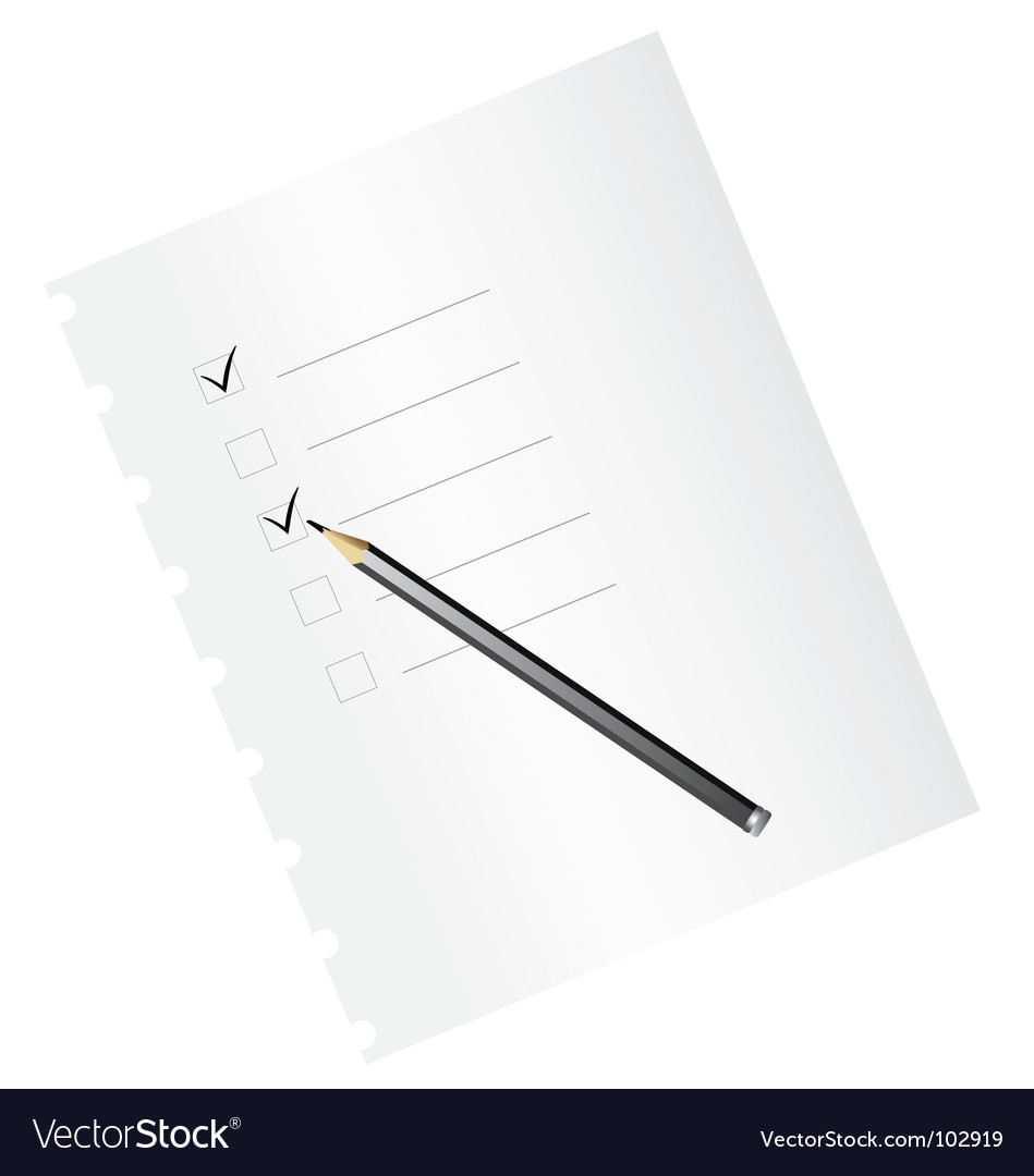 Checklist with pencil vector | Price: 1 Credit (USD $1)