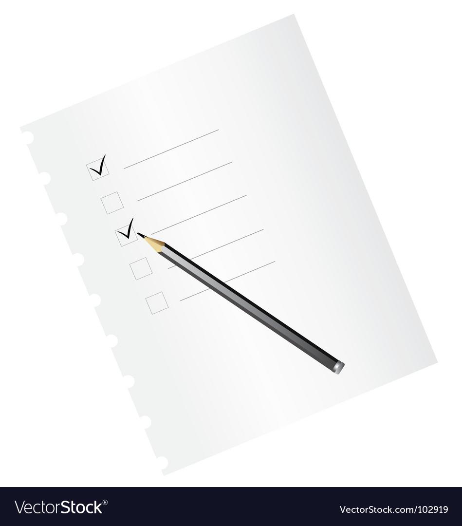 Checklist with pencil vector | Price: 1 Credit (USD $1)