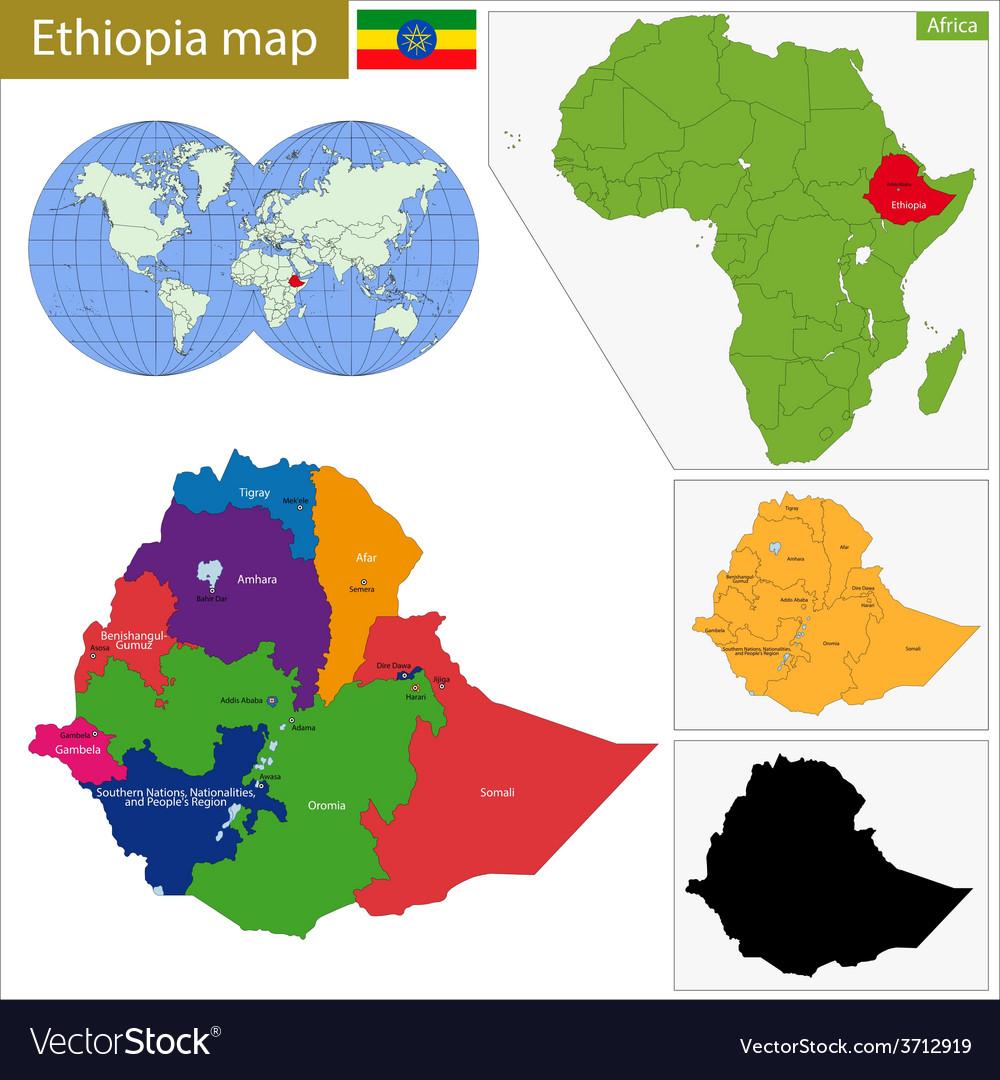 Ethiopia map vector | Price: 1 Credit (USD $1)