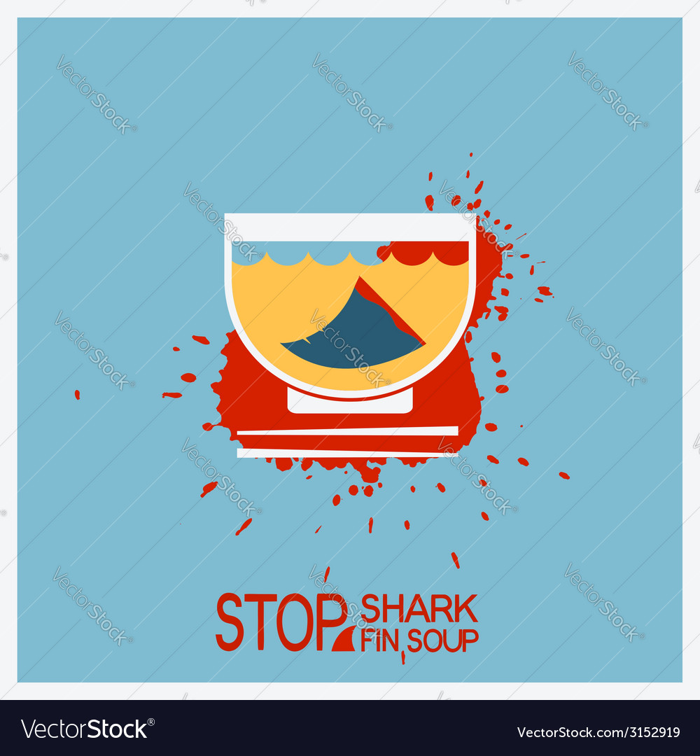 No blood shark finning soup poster vector | Price: 1 Credit (USD $1)