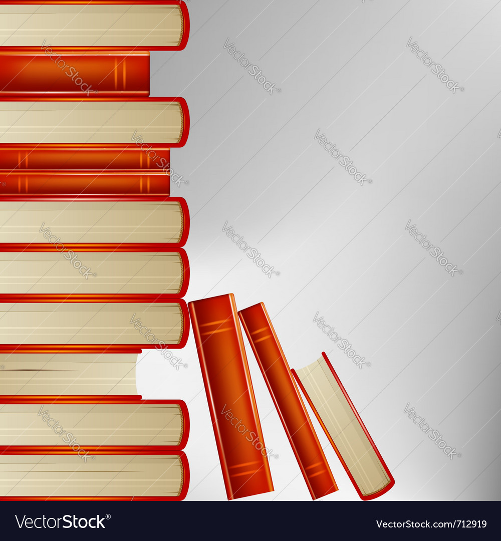 Pile of books in an orange cover on gray backgroun vector | Price: 1 Credit (USD $1)