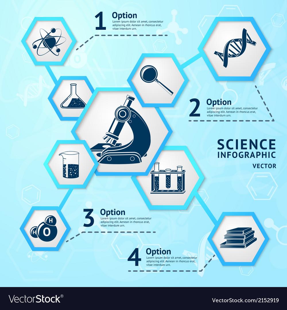 Science hexagon infographic vector | Price: 1 Credit (USD $1)
