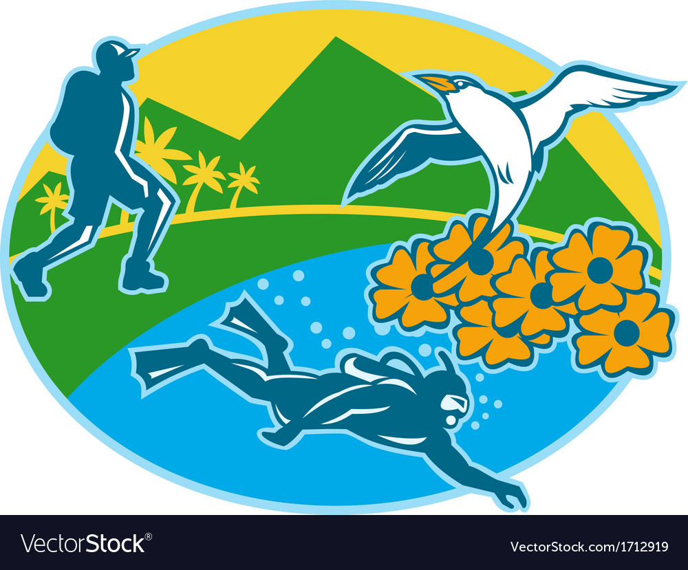 Scuba diver hiker island tropicbird flowers retro vector | Price: 1 Credit (USD $1)