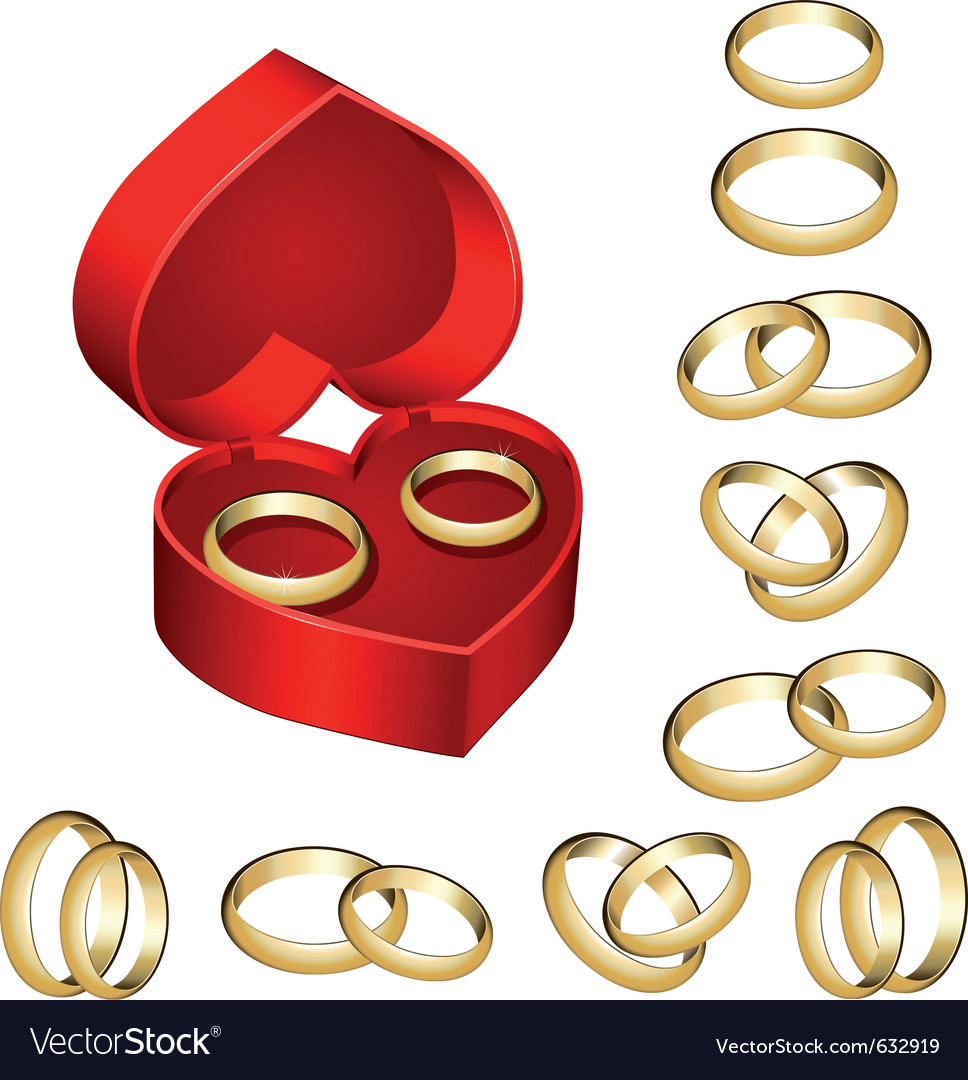 Set of gold wedding rings with heart-shaped box vector | Price: 1 Credit (USD $1)