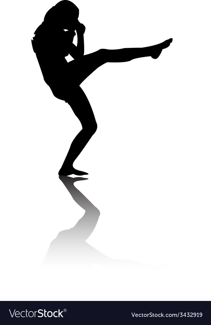 Silhouette of woman kicking vector | Price: 1 Credit (USD $1)