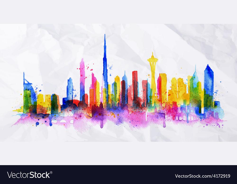 Silhouette overlay city dubai vector | Price: 3 Credit (USD $3)