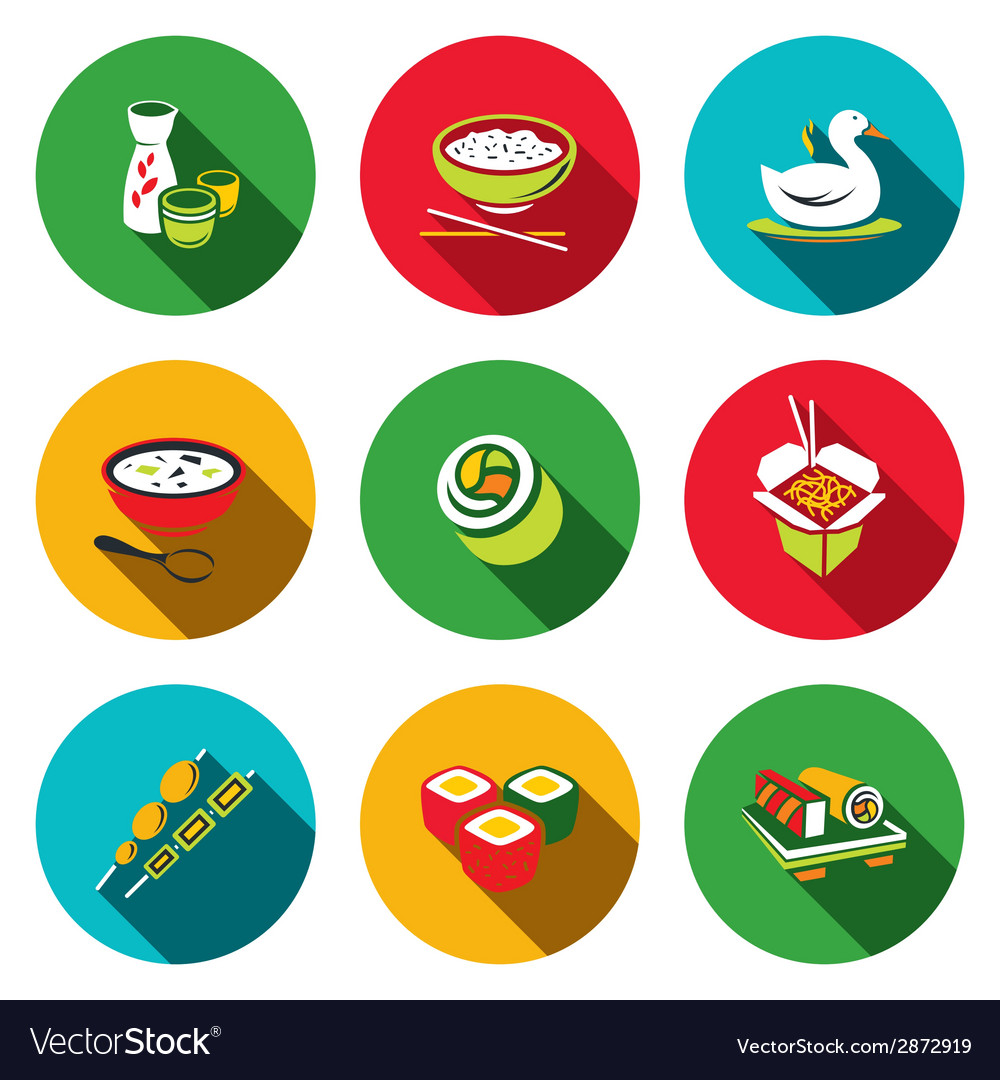 Sushi flat icons set vector | Price: 1 Credit (USD $1)