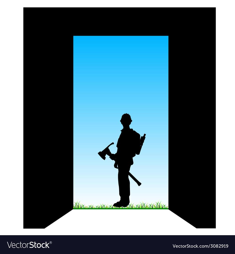 Worker front of the door color vector | Price: 1 Credit (USD $1)