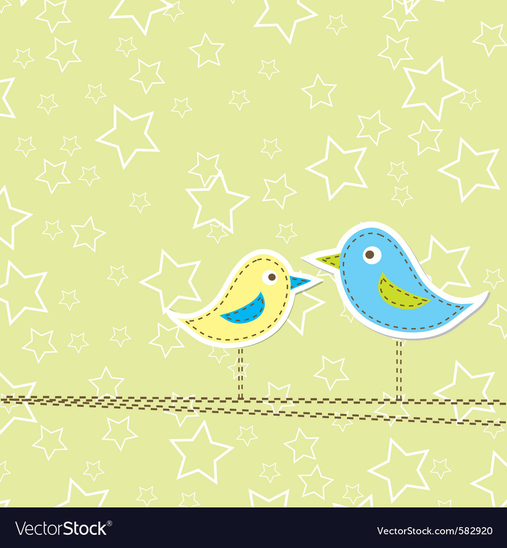 Birds greeting card design vector | Price: 1 Credit (USD $1)