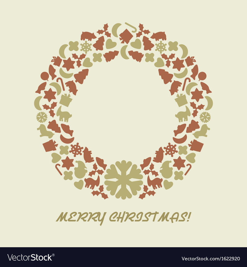 Christmas wreath in retro style vector | Price: 1 Credit (USD $1)
