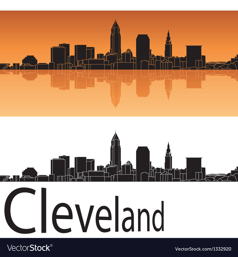 Cleveland skyline in orange background vector | Price: 1 Credit (USD $1)