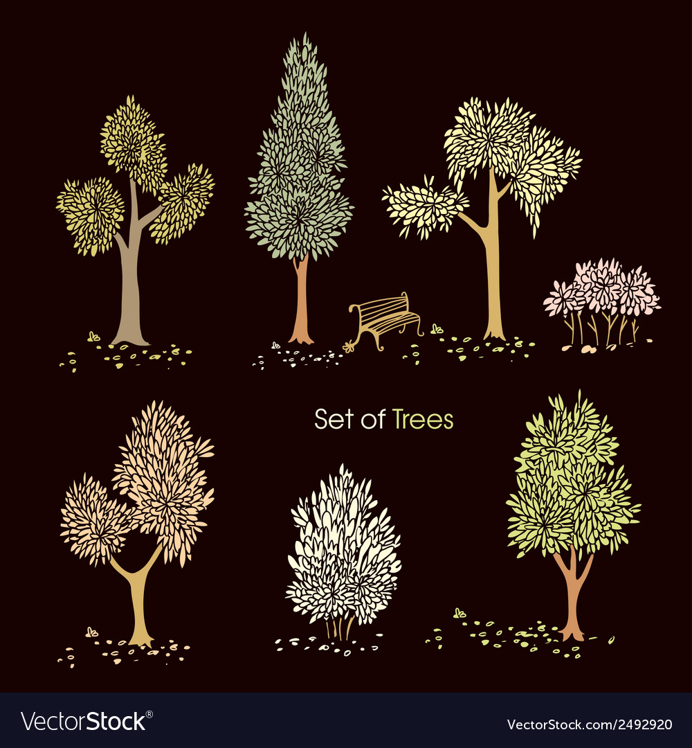 Collection of stylized trees vector | Price: 1 Credit (USD $1)