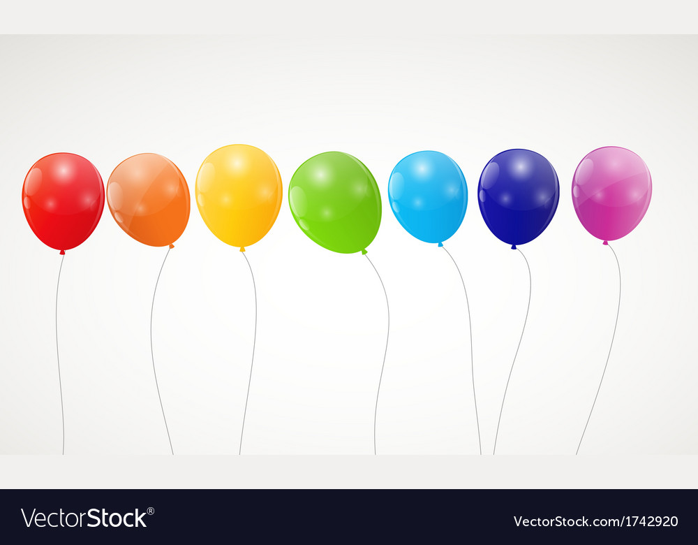 Color glossy rainbow balloons background vector | Price: 1 Credit (USD $1)