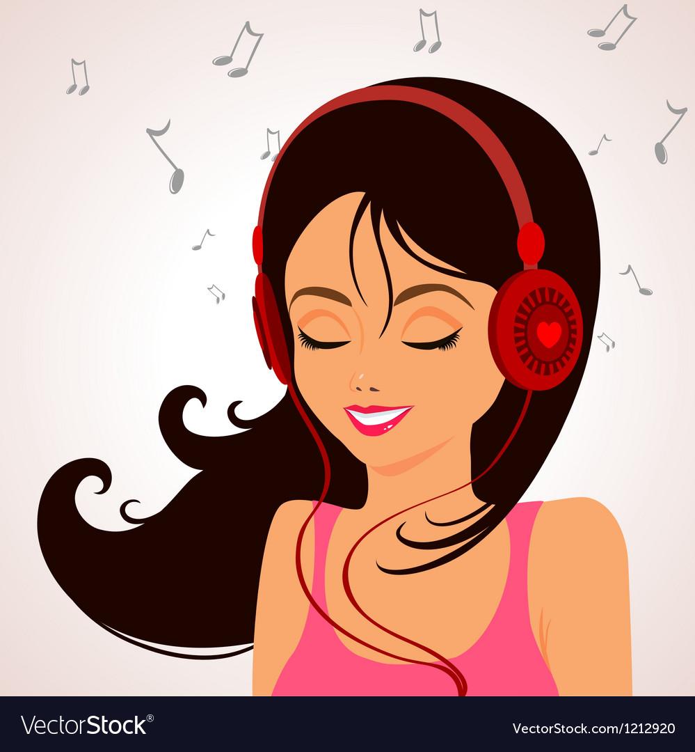 Girl music vector | Price: 1 Credit (USD $1)
