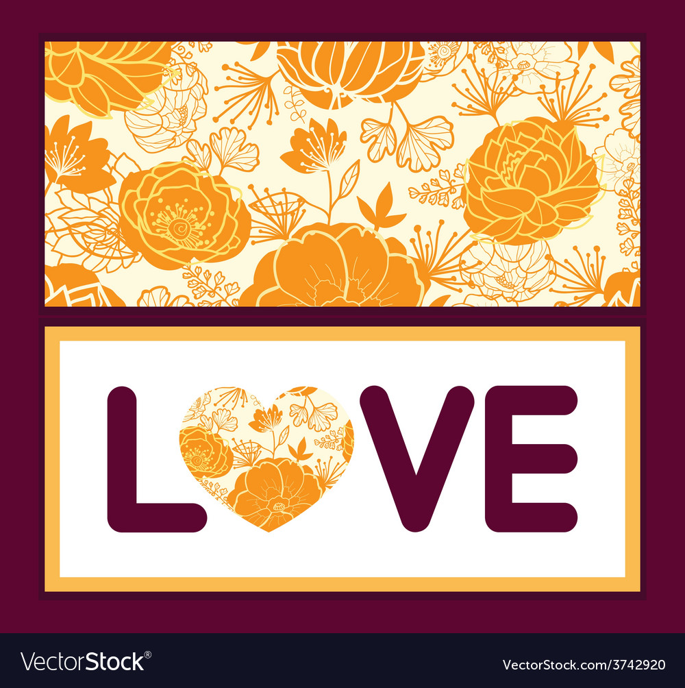 Golden art flowers love text frame pattern vector | Price: 1 Credit (USD $1)