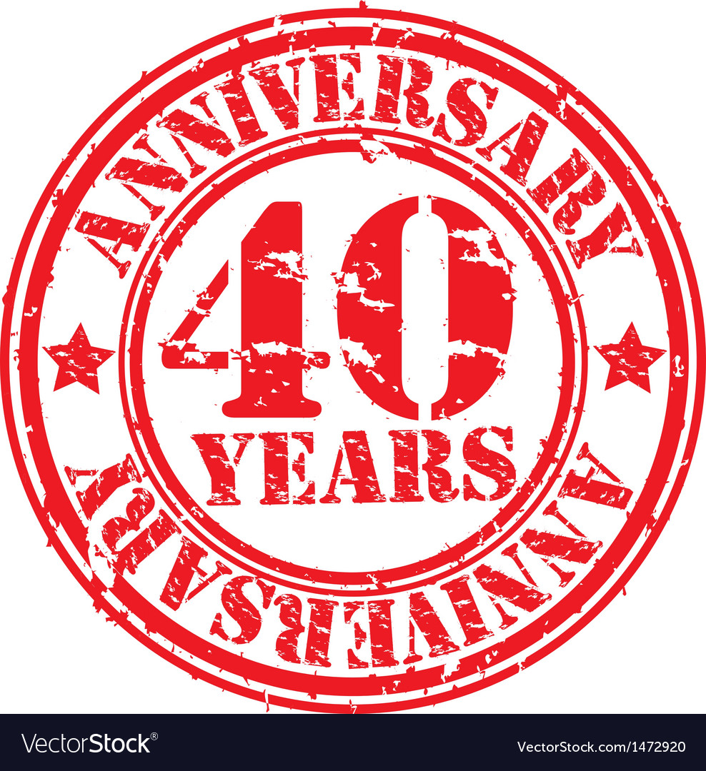 Grunge 40 years anniversary rubber stamp vector | Price: 1 Credit (USD $1)