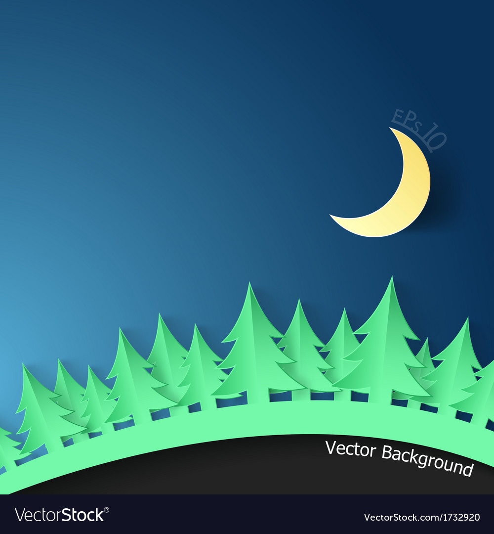 Modern background with spruce and moon vector | Price: 1 Credit (USD $1)