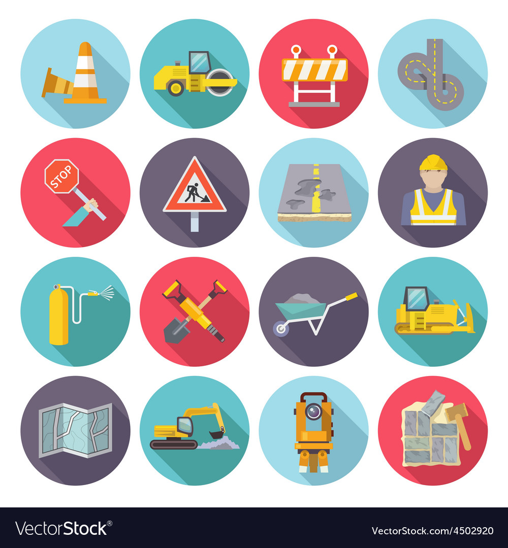 Road worker flat icons vector | Price: 1 Credit (USD $1)