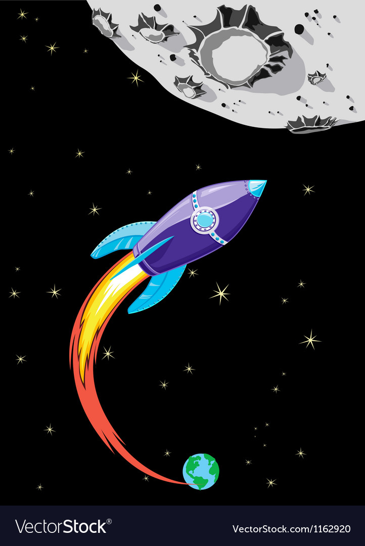 Rocket to the moon vector | Price: 1 Credit (USD $1)