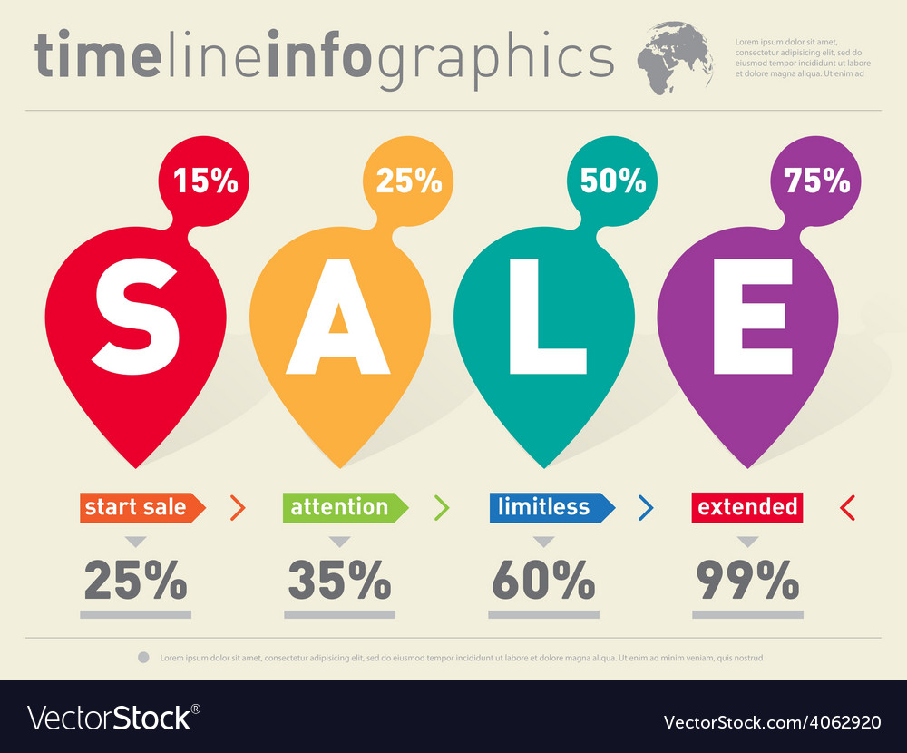Sale infographic timeline with pointers time line vector | Price: 1 Credit (USD $1)