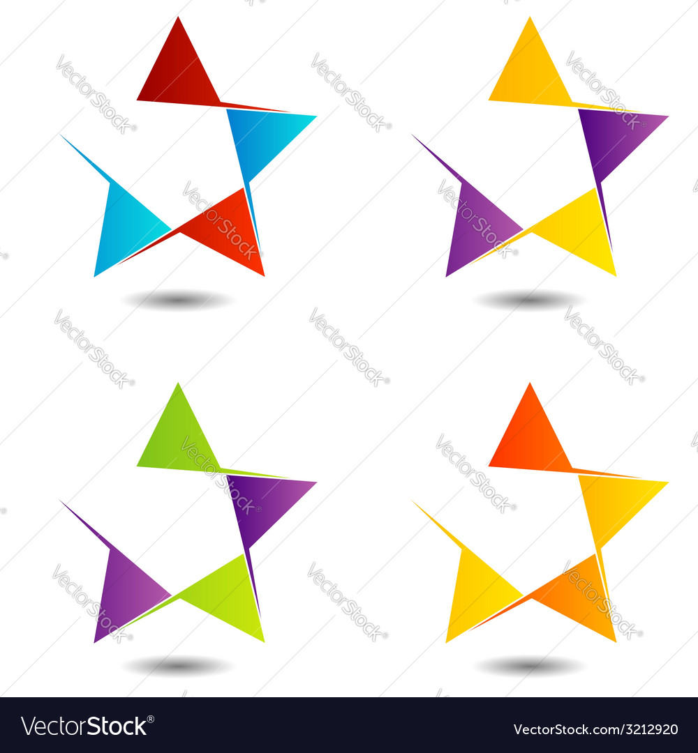 Set of colorful star logos vector | Price: 1 Credit (USD $1)
