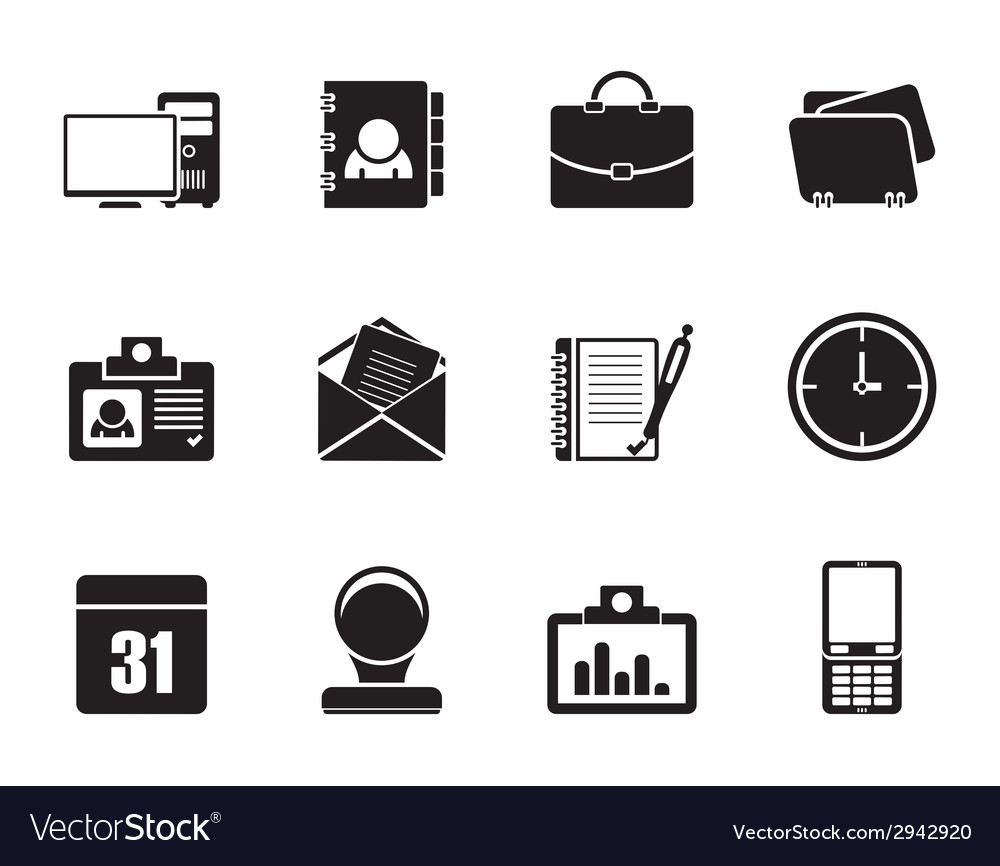 Silhouette web applications and office icons vector | Price: 1 Credit (USD $1)