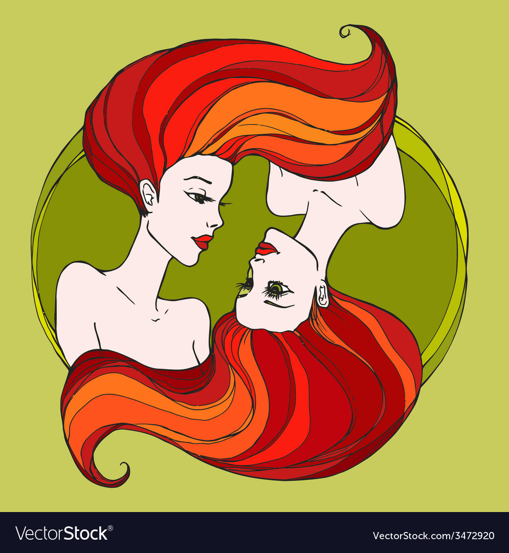 Two beautiful young women vector | Price: 1 Credit (USD $1)