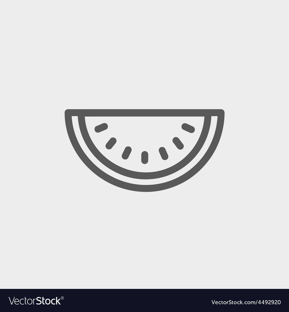 Watermelon slice thin line icon vector | Price: 1 Credit (USD $1)