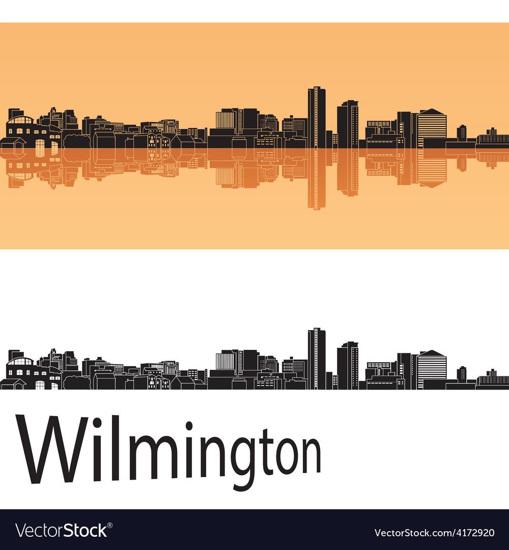Wilmington skyline in orange background vector | Price: 1 Credit (USD $1)
