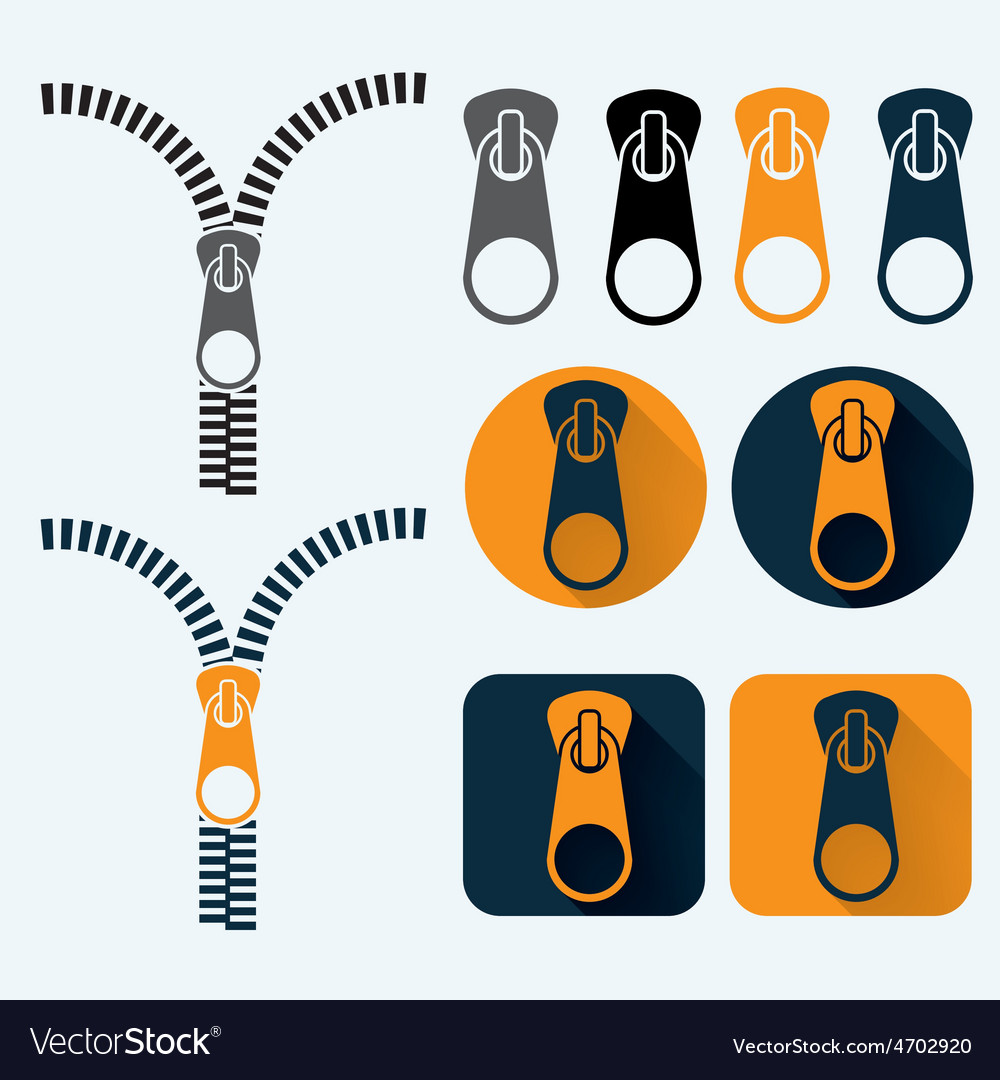 Zipper and icons set flat design vector