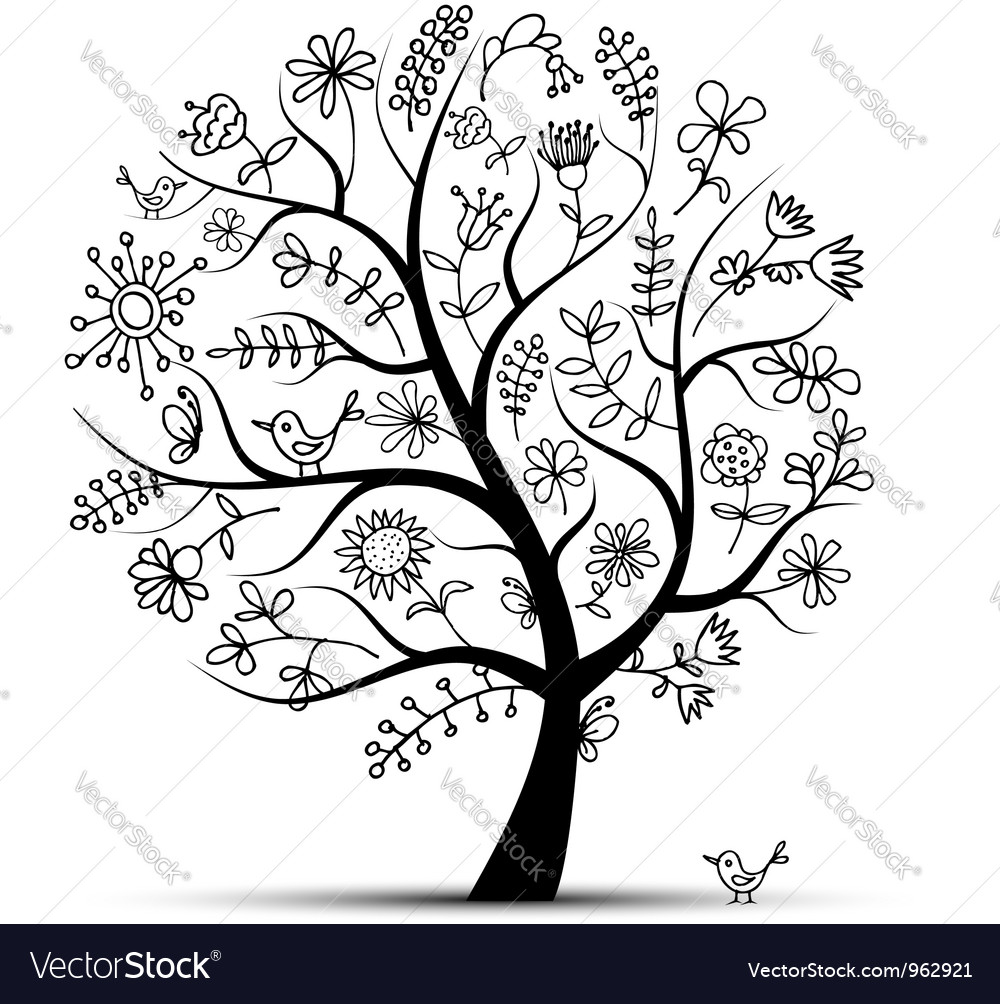 Art floral tree black for your design vector | Price: 1 Credit (USD $1)