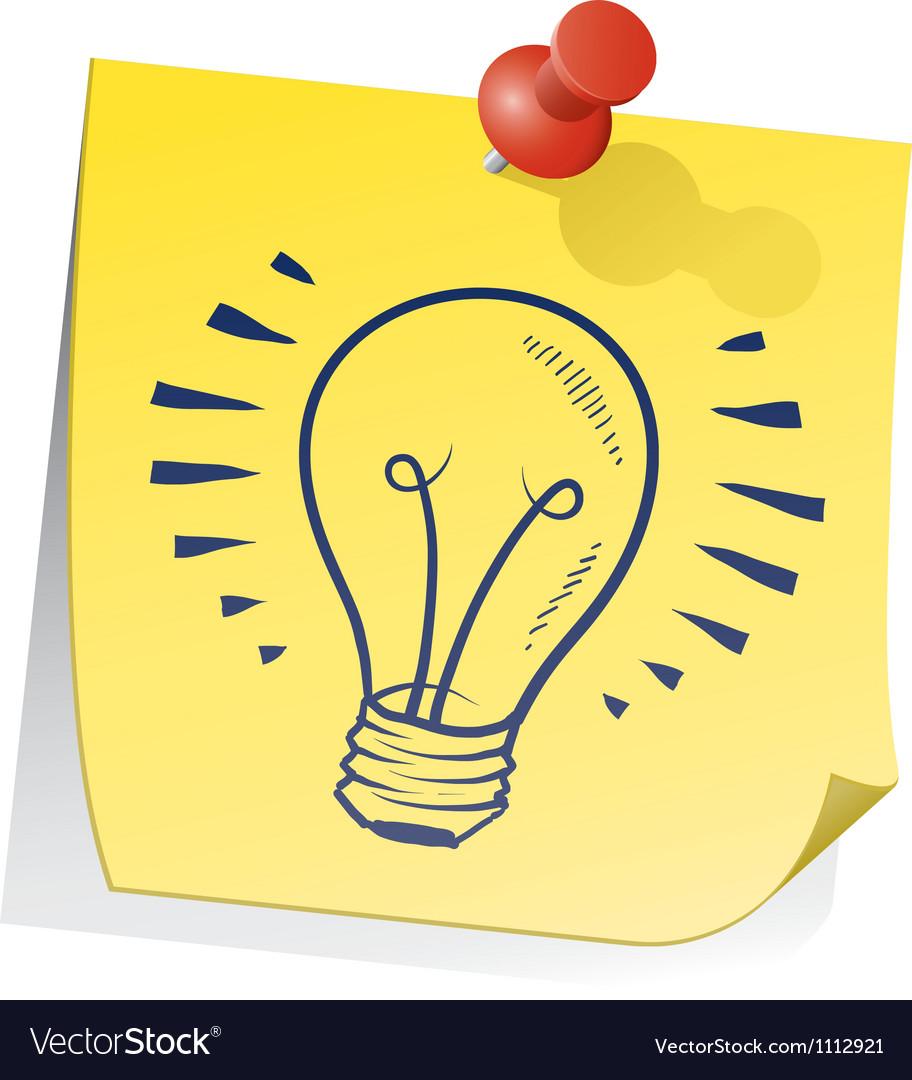 Doodle sticky note lightbulb vector | Price: 1 Credit (USD $1)