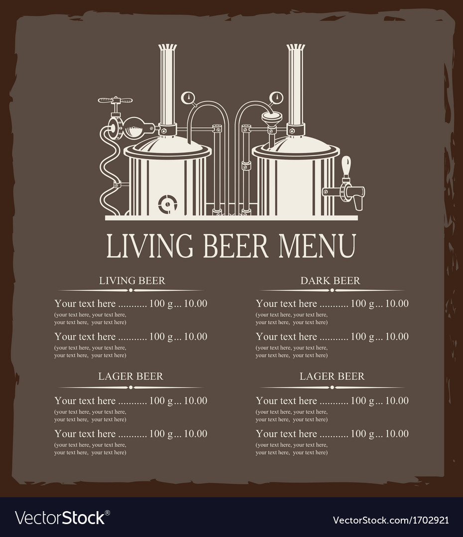 Living beer menu vector | Price: 1 Credit (USD $1)