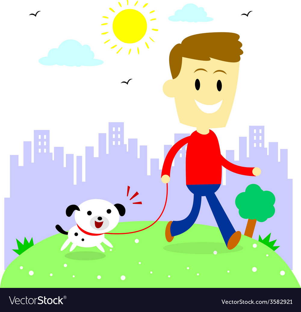 Man taking his puppy for a walk at park vector   Price: 1 Credit (USD $1)