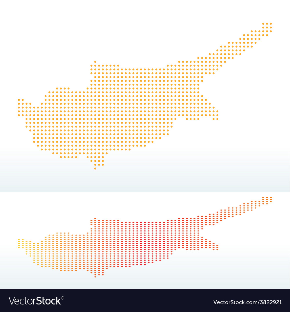 Map of republic of cyprus with with dot pattern vector | Price: 1 Credit (USD $1)
