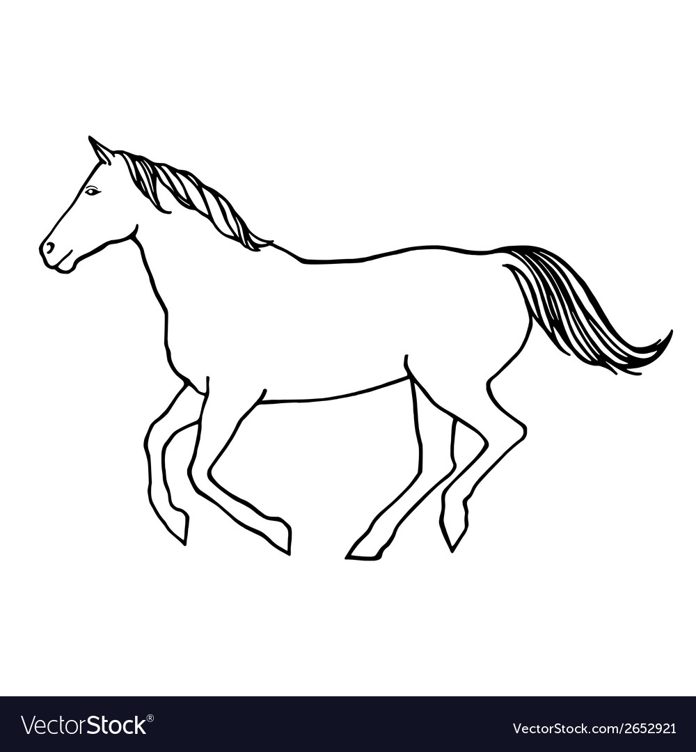 Outline of running horse vector | Price: 1 Credit (USD $1)