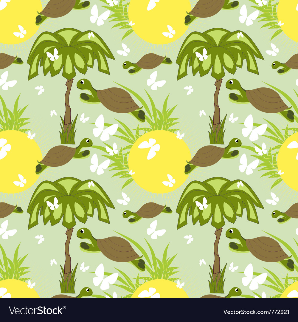Seamless tortoise and palm vector | Price: 1 Credit (USD $1)