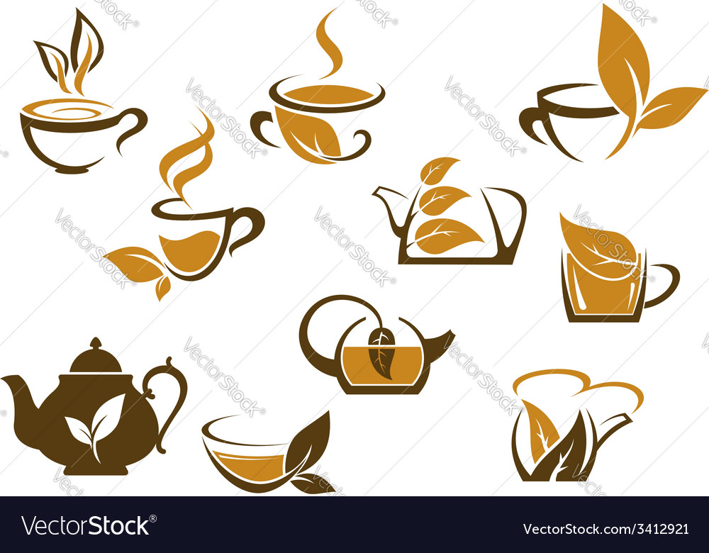 Set of organic and herbal tea icons vector | Price: 1 Credit (USD $1)