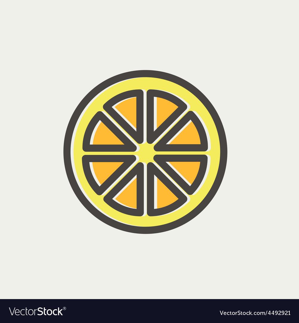 Sliced of lemon thin line icon vector | Price: 1 Credit (USD $1)